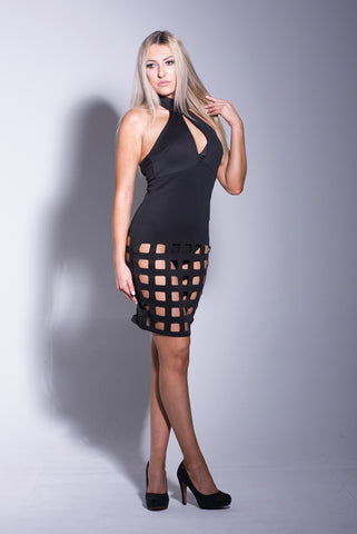 Black Choker Neck Laser Cut Dress