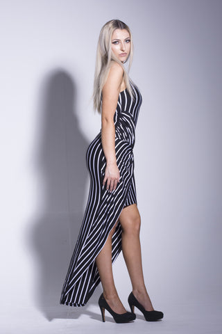 Black Striped Twist Front Maxi Dress