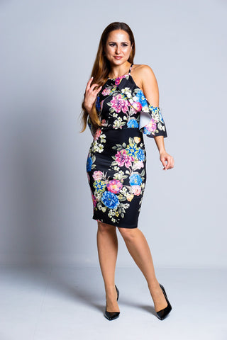 Black Multi Floral Cold Shoulder Mini Dress