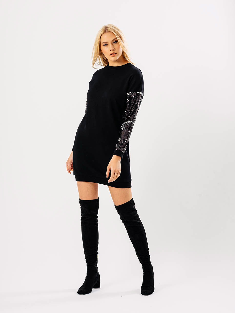 0a948f6278f Oversized Jumper Dress With Sequin Sleeves Black