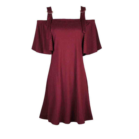 Wine Buckle Cold Shoulder Dress