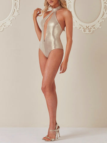 Gold Halter Neck Cut Out Swimsuit