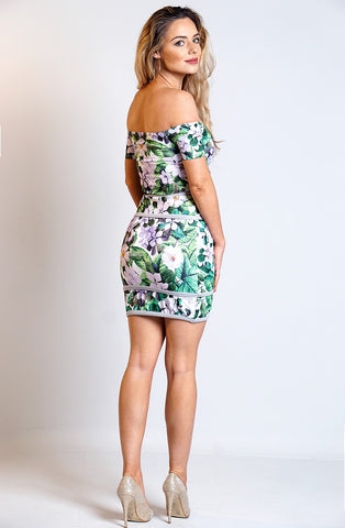 Green Floral Bardot Dress