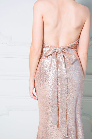 Goddiva Champagne Halter Neck Sequin Maxi Dress