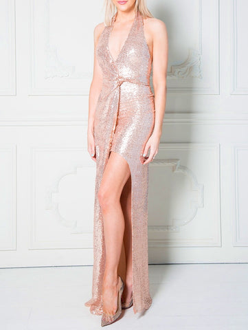 Champagne Halter Neck Sequin Maxi Dress