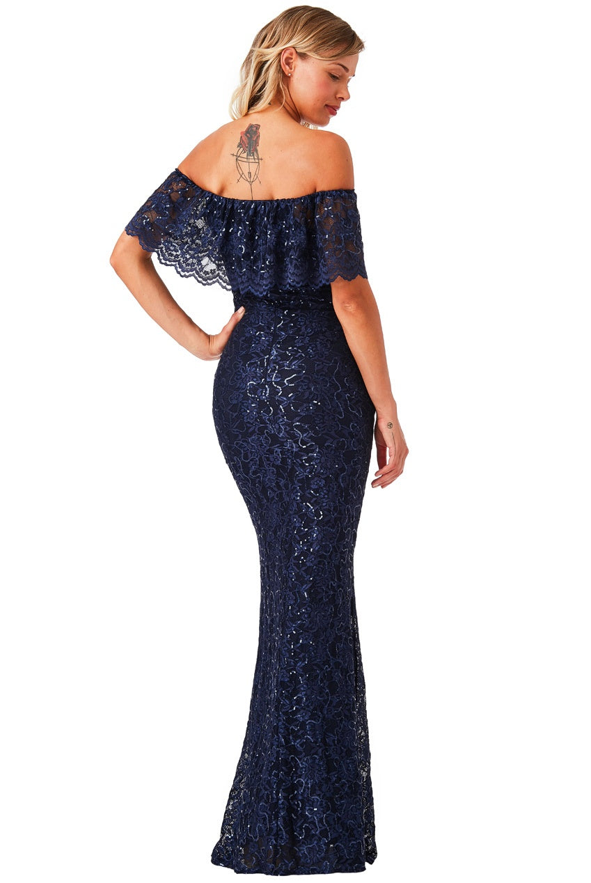 757d3f7c3555 Navy Bardot Lace Maxi Dress | LaBoutique21
