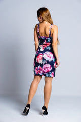 Navy-Pink-Floral-Bodycon-Mini-Dress