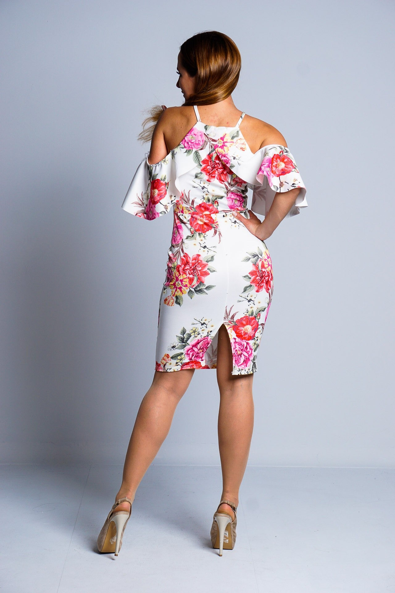 White Multi Floral Cold Shoulder Mini Dress