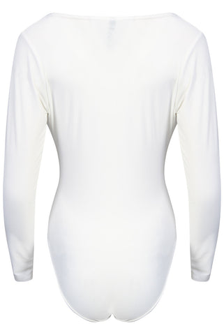 White Low V Neck Long Sleeve Bodysuit