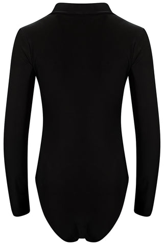 Black Low V Neck Long Sleeve Bodysuit