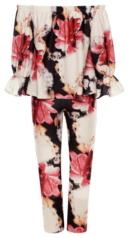 Floral Print Matching Two Piece Top & Trouser Set