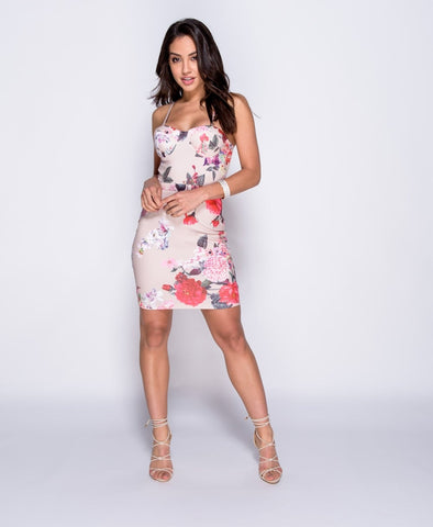 Floral Print Bustier Bodycon Dress