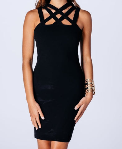 Bandage Cage Neck Dress