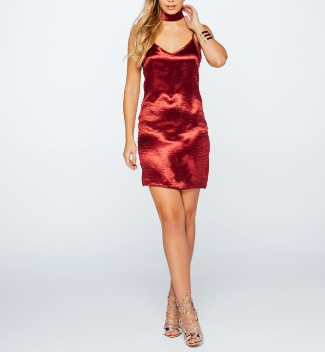 Hammered Satin Choker Neck Dress Wine