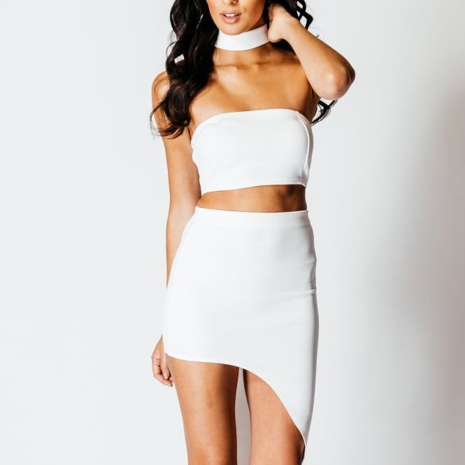 White Co Ord Suit Boob Tube & Midi Skirt