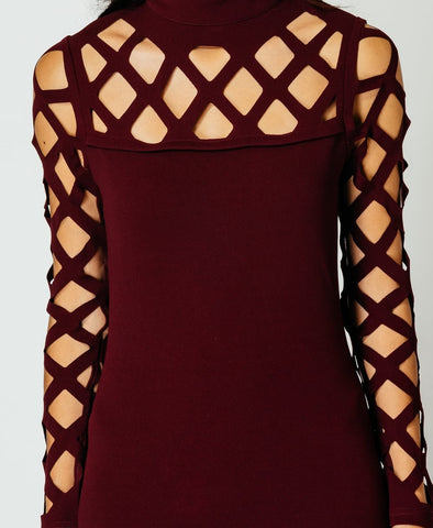 Wine Lattice Sleeve Mini Dress