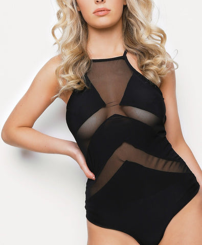 Cross Back Mesh Bodysuit Black