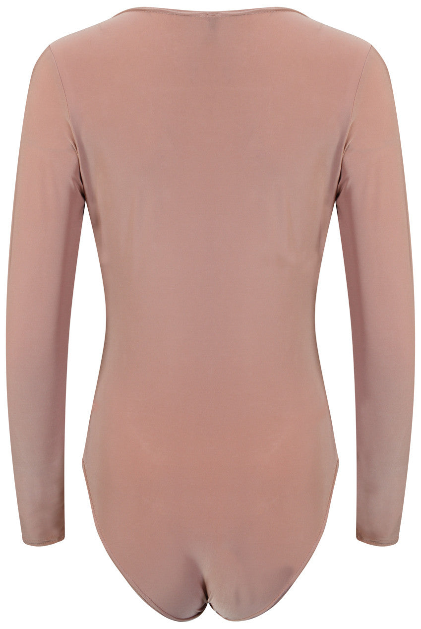 Low V Neck Long Sleeve Bodysuit