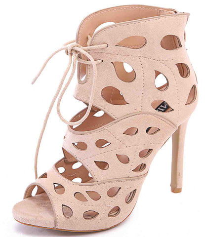 Beige Cut Out Lace Up Heels