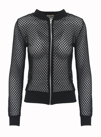 Long Sleeved Zip Front Mesh Jacket