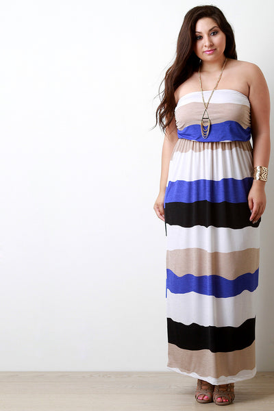 Multicolor Striped Empire Waist Maxi Dress, (product type), (product vendor), (shop name)- Beachy Girl Designs