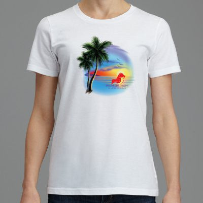 Signature Soft Women's T-Shirt Beach Scene, (product type), (product vendor), (shop name)- Beachy Girl Designs