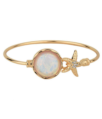 Starfish and Abalone Stone Bangle Bracelet