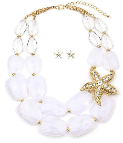 Starfish and Stone Necklace & Earring Set