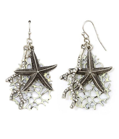 Starfish and Crystal Coral Earrings