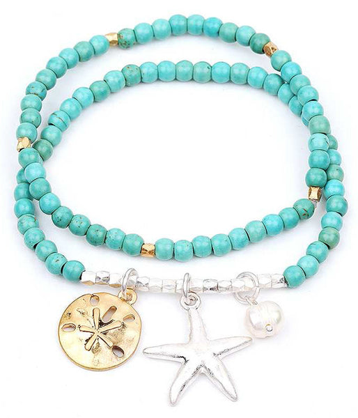 Starfish and Sand Dollar Stretch Bracelet