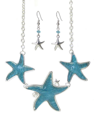 Puffy 3 Starfish Necklace and Earrings