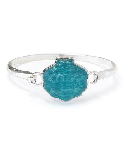 Puffy Seashell Bangle Bracelet