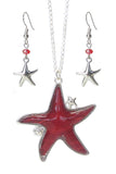 Puffy Starfish Necklace and Earrings