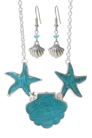 Puffy Starfish and Shell Necklace and Earrings
