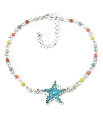 Puffy Stone, Bead and Starfish Anklet