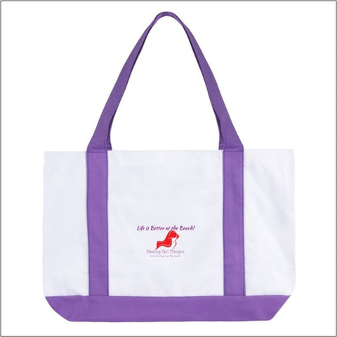 Large Boat Tote Bag-Life is Better, (product type), (product vendor), (shop name)- Beachy Girl Designs