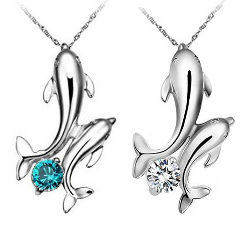 Cute Silver Plated Double Dolphins Pendant Necklace