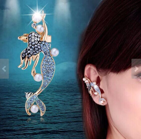Blue Crystal Mermaid Ear Clips