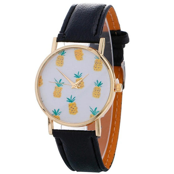 Genvivia Stylish Pineapple Leather Wrist Watch