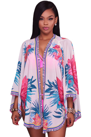 White Lotus Floral Chiffon Kimono Beach Cover Up