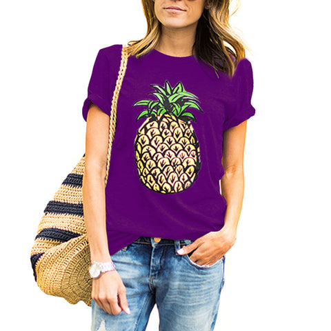 Pineapple Print Design T shirt