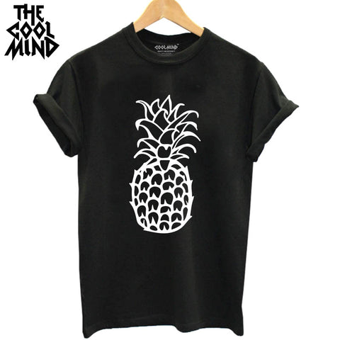 THE COOLMIND Loose 100% Cotton Short Sleeve Pineapple T Shirt