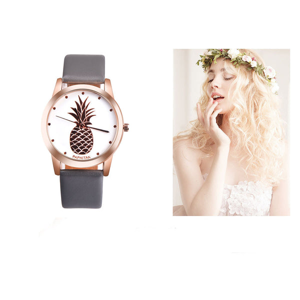 Big Pineapple Faux Leather Analog Quartz Watch