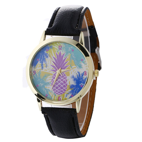 Pineapple Pattern Leather Quartz Wrist Watch