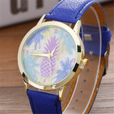 Neutral Pineapple Pattern Leather Quartz Wrist Watch