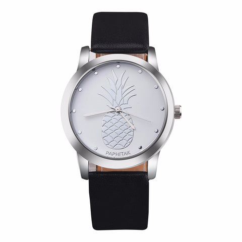 Pineapple Faux Leather Analog Quartz Watch