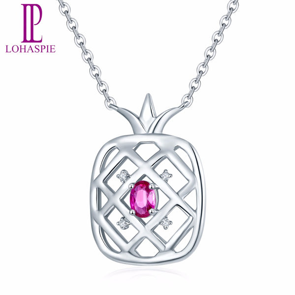 Pineapple Ruby & Diamond Pendant Necklace