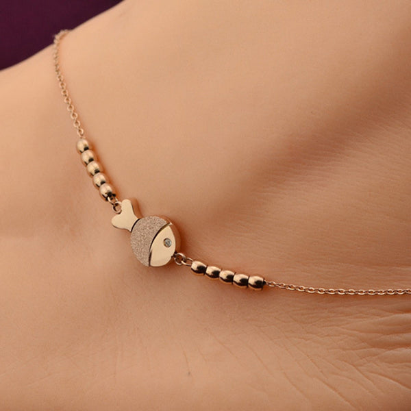 Cute Fish Anklet in 14k Rose Gold Titanium Steel Chain