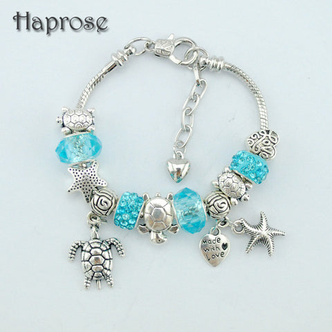 Blue Glass/Crystal Starfish/ Turtle Charm Beads Bracelet