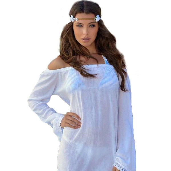 White Off Shoulder Bikini Cover Up